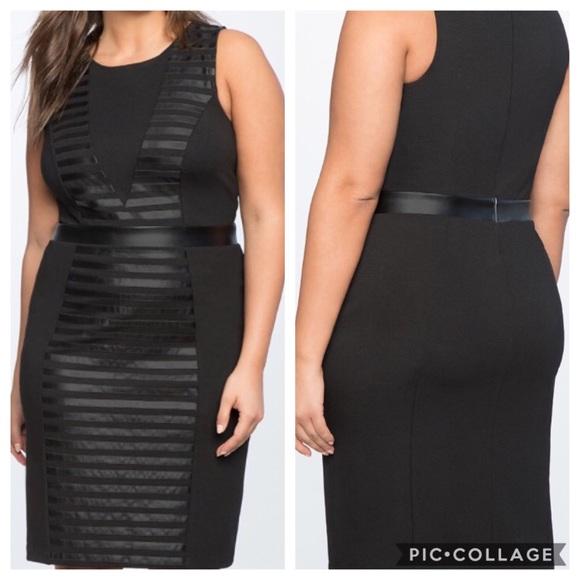 e8d5285cd99 Eloquii Dresses   Skirts - ELOQUII Ponte Faux Leather Mixed Dress Sheath 22